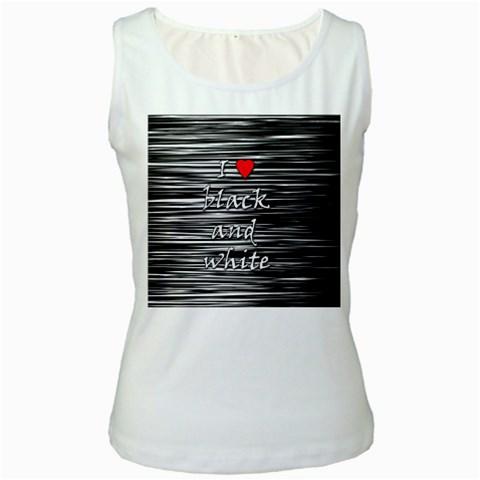 I love black and white 2 Women s White Tank Top