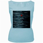 I love black and white 2 Women s Baby Blue Tank Top Front
