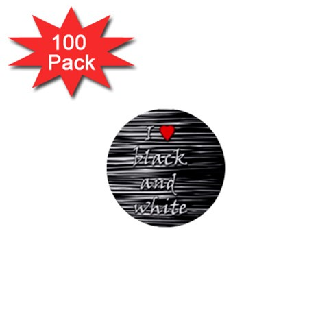 I love black and white 2 1  Mini Buttons (100 pack)