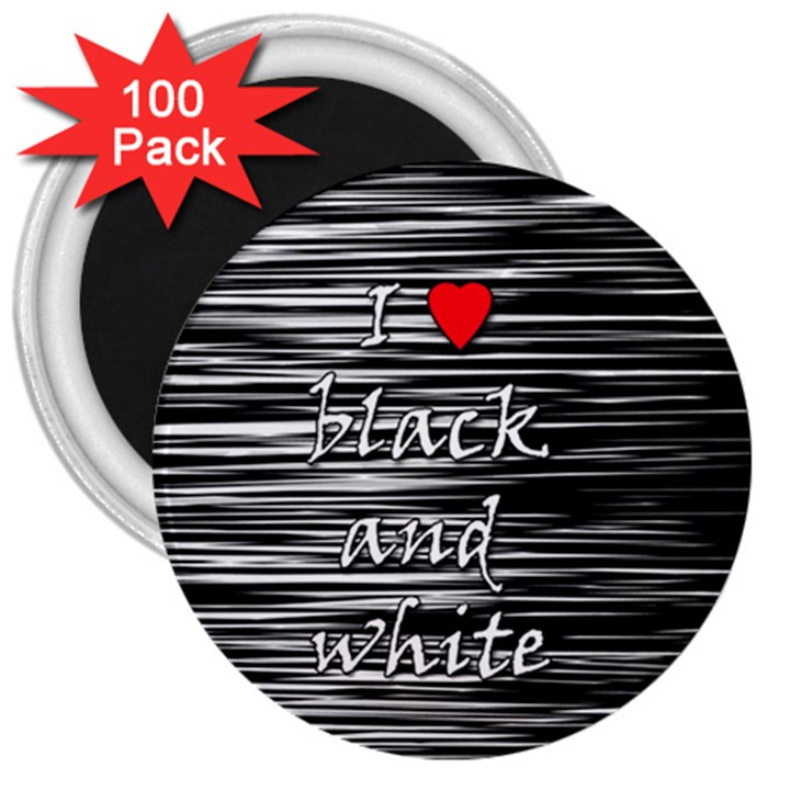 I love black and white 2 3  Magnets (100 pack)