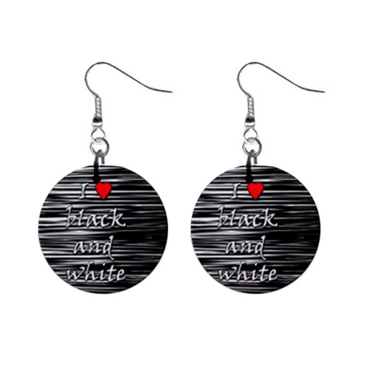 I love black and white 2 Mini Button Earrings