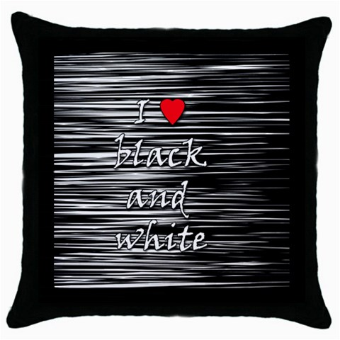 I love black and white 2 Throw Pillow Case (Black)