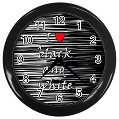 I Love Black And White 2 Wall Clocks (black)