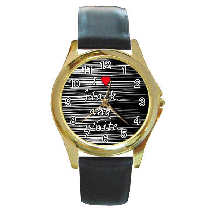 I love black and white 2 Round Gold Metal Watch