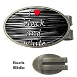 I love black and white 2 Money Clips (Oval)  Front