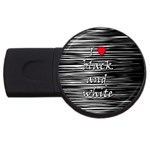 I love black and white 2 USB Flash Drive Round (1 GB)  Front