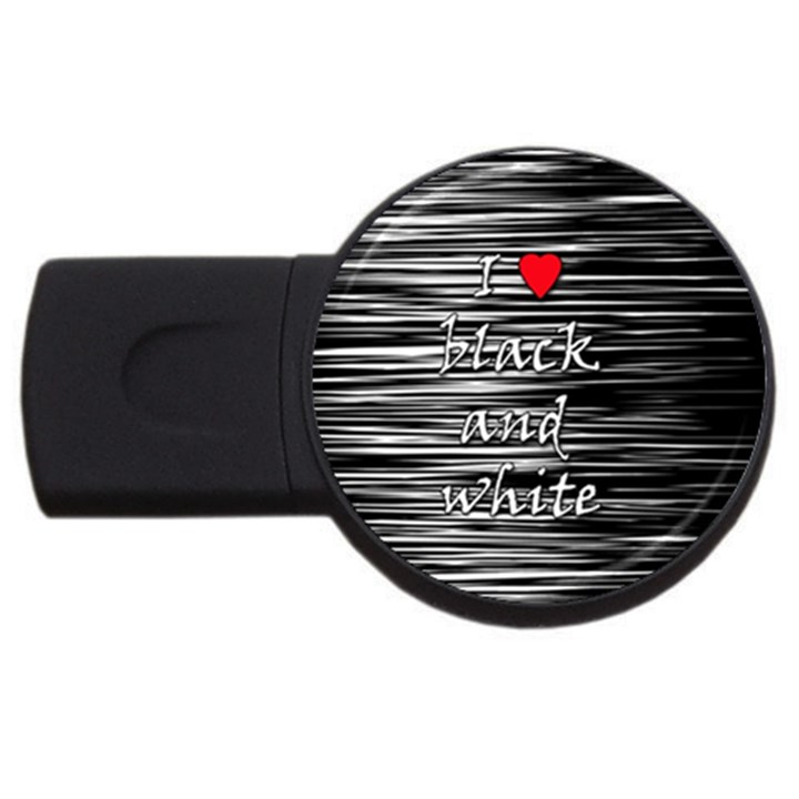 I love black and white 2 USB Flash Drive Round (1 GB)