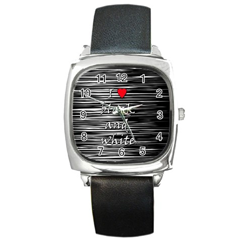 I love black and white 2 Square Metal Watch