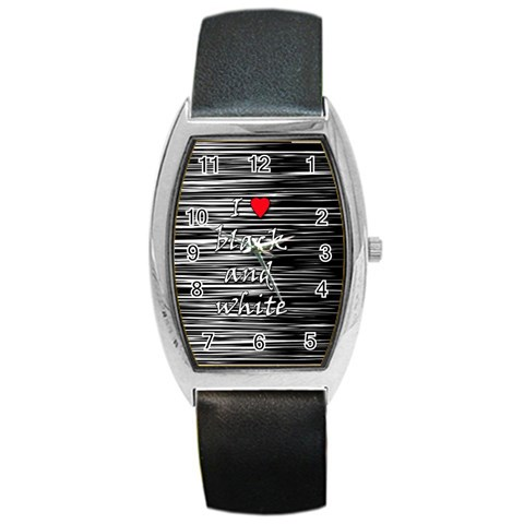 I love black and white 2 Barrel Style Metal Watch