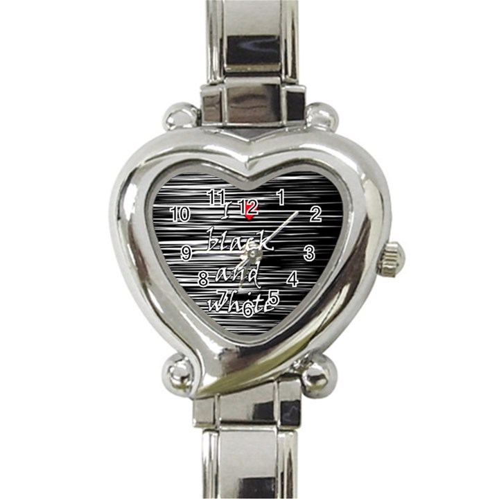 I love black and white 2 Heart Italian Charm Watch