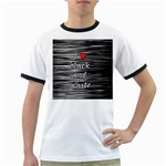 I love black and white 2 Ringer T-Shirts Front