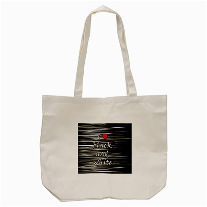 I love black and white 2 Tote Bag (Cream)