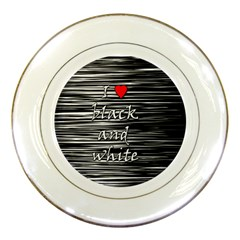 I love black and white 2 Porcelain Plates