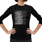 I love black and white 2 Women s Long Sleeve Dark T-Shirts Front