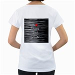 I love black and white 2 Women s Loose-Fit T-Shirt (White) Back