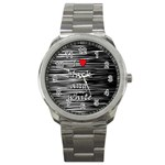 I love black and white 2 Sport Metal Watch Front