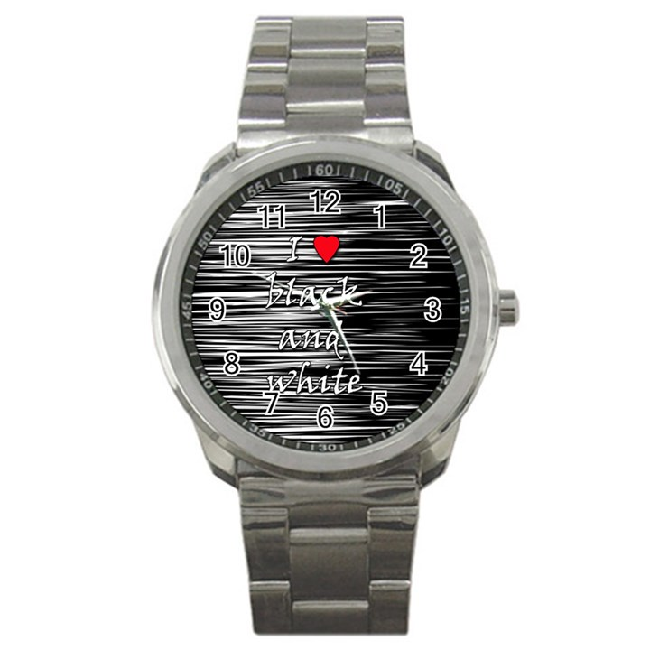 I love black and white 2 Sport Metal Watch