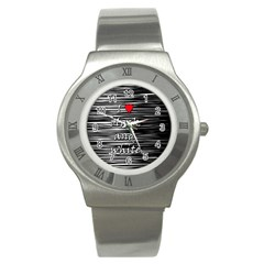 I Love Black And White 2 Stainless Steel Watch