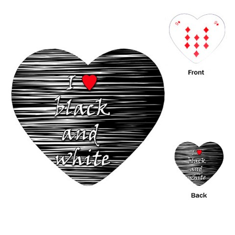I love black and white 2 Playing Cards (Heart)