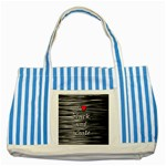 I love black and white 2 Striped Blue Tote Bag Front