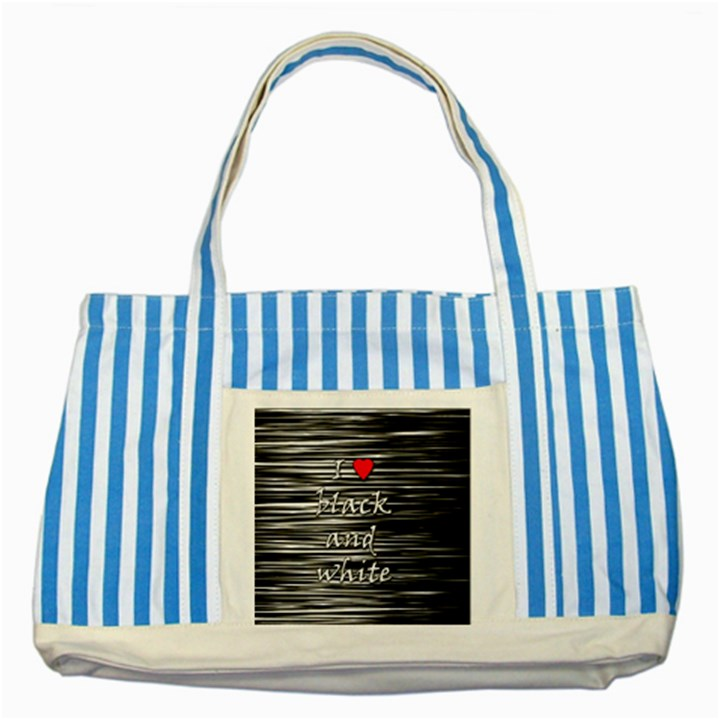 I love black and white 2 Striped Blue Tote Bag