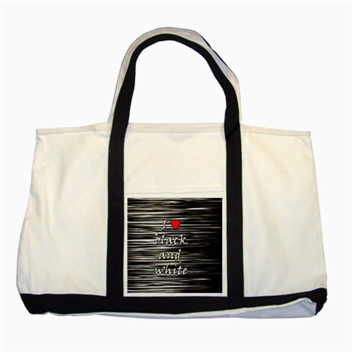 I love black and white 2 Two Tone Tote Bag