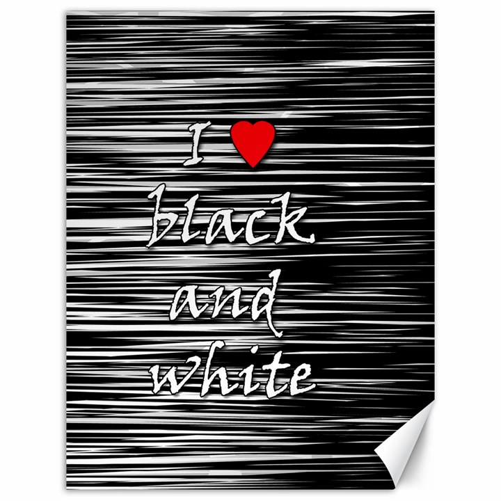 I love black and white 2 Canvas 12  x 16