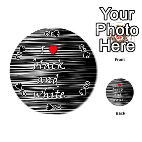 I love black and white 2 Playing Cards 54 (Round)