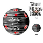 I love black and white 2 Playing Cards 54 (Round)  Front - Heart6