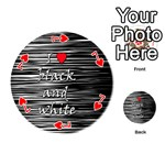 I love black and white 2 Playing Cards 54 (Round)  Front - Heart7