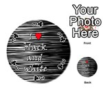 I love black and white 2 Playing Cards 54 (Round)  Front - Club3