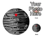 I love black and white 2 Playing Cards 54 (Round)  Front - Club5