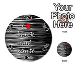 I love black and white 2 Playing Cards 54 (Round)  Front - SpadeJ