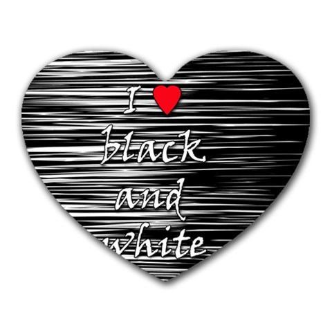 I love black and white 2 Heart Mousepads
