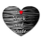 I love black and white 2 Heart Mousepads Front
