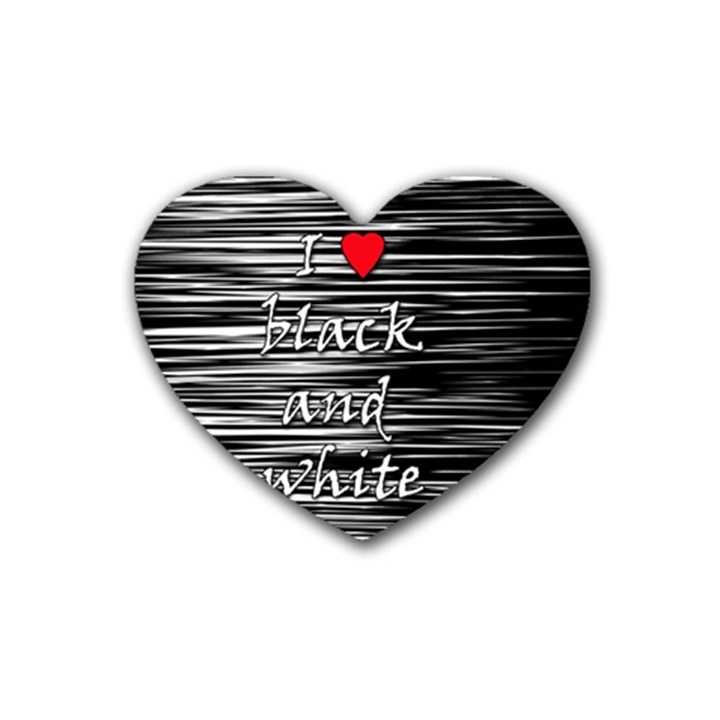 I love black and white 2 Rubber Coaster (Heart)
