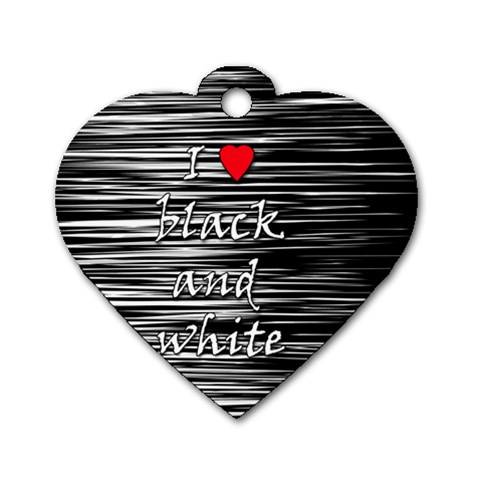 I love black and white 2 Dog Tag Heart (One Side)
