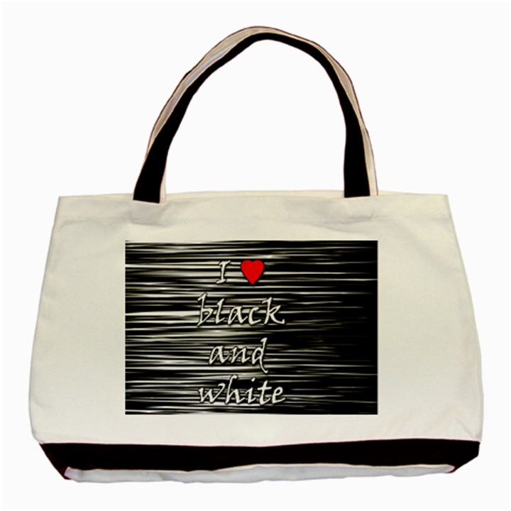 I love black and white 2 Basic Tote Bag (Two Sides)