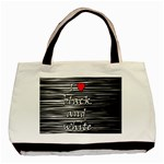 I love black and white 2 Basic Tote Bag (Two Sides) Back