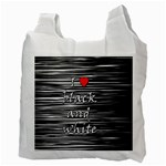 I love black and white 2 Recycle Bag (Two Side)  Back