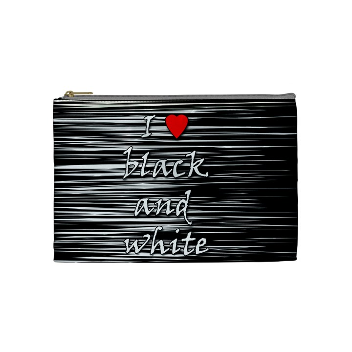 I love black and white 2 Cosmetic Bag (Medium)