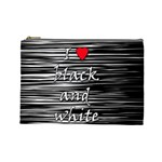 I love black and white 2 Cosmetic Bag (Large)  Front