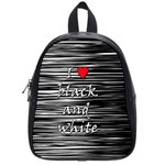 I love black and white 2 School Bags (Small)  Front