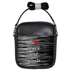 I Love Black And White 2 Girls Sling Bags