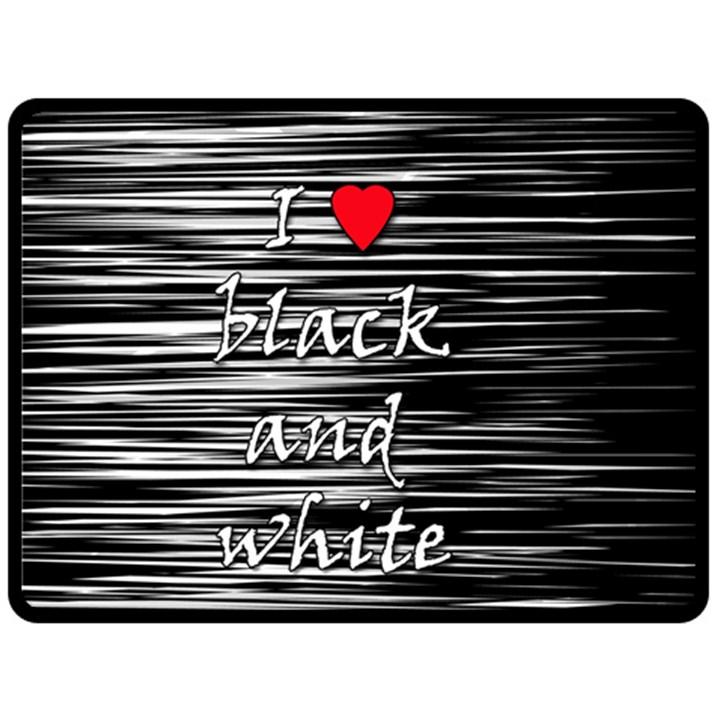 I love black and white 2 Fleece Blanket (Large)