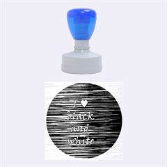 I love black and white 2 Rubber Round Stamps (Medium)