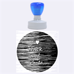 I love black and white 2 Rubber Round Stamps (Large) 1.875 x1.875  Stamp