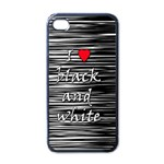 I love black and white 2 Apple iPhone 4 Case (Black) Front