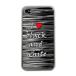 I love black and white 2 Apple iPhone 4 Case (Clear) Front