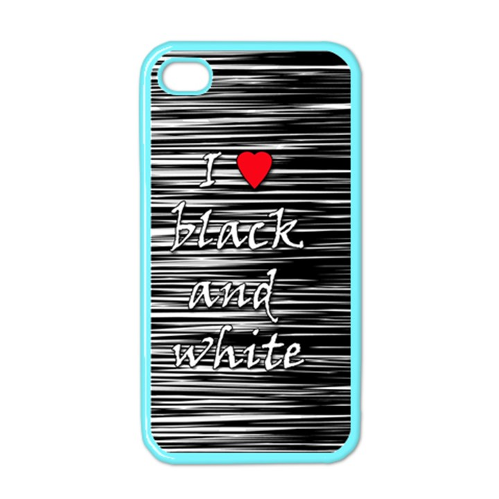 I love black and white 2 Apple iPhone 4 Case (Color)